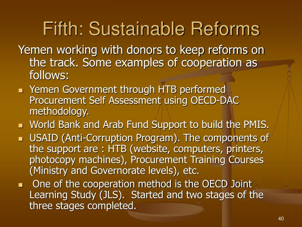 Fifth: Sustainable Reforms