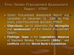 first yemen procurement assessment report ypar