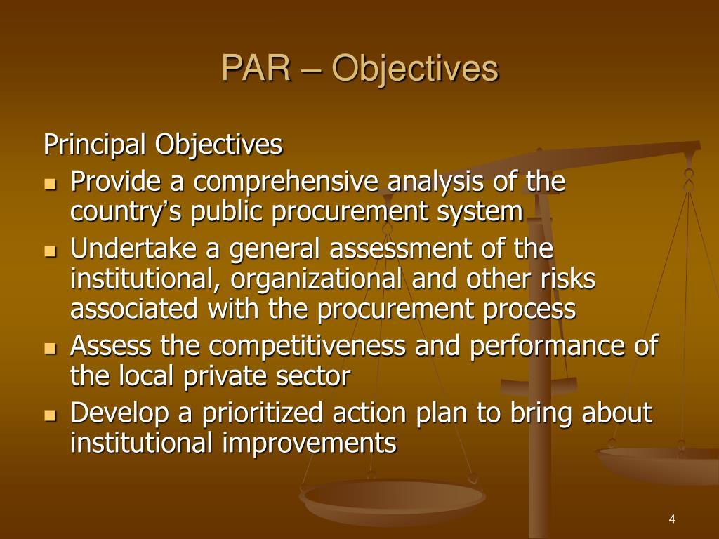 PAR – Objectives