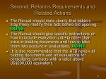 second reforms requirements and related actions31