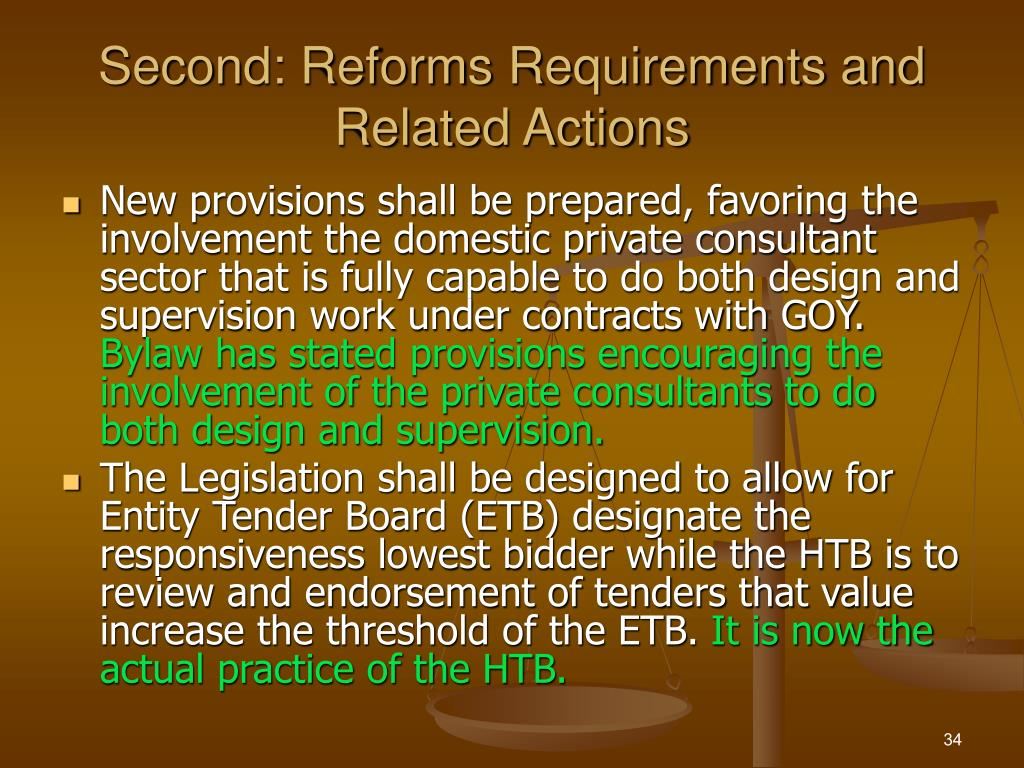 Second: Reforms Requirements and  Related Actions
