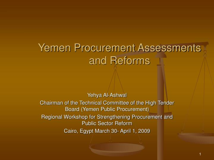 Yemen procurement assessments and reforms l.jpg