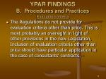 ypar findings b procedures and practices evaluation criteria