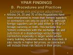 ypar findings b procedures and practices exchange risk and price adjustments