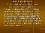 ypar findings b procedures and practices mchup engineering services