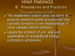 ypar findings b procedures and practices t he registration system