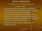 ypar findings e public sector management performance