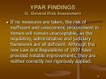 ypar findings g general risk assessment