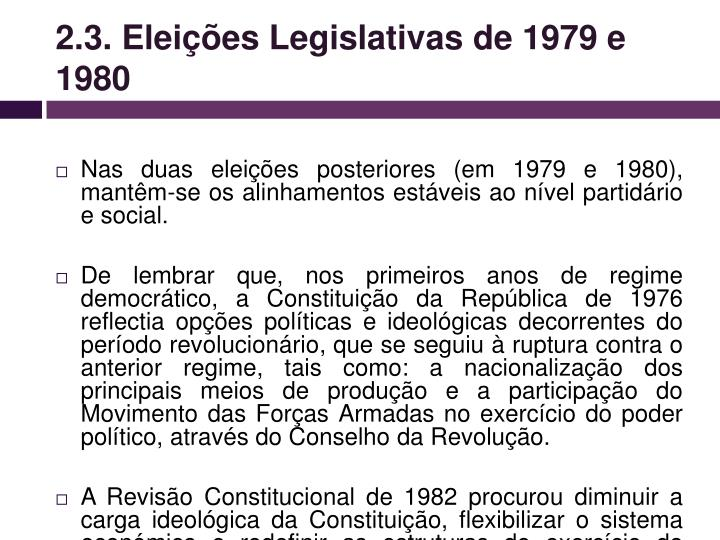 2.3. Eleições Legislativas de 1979 e 1980