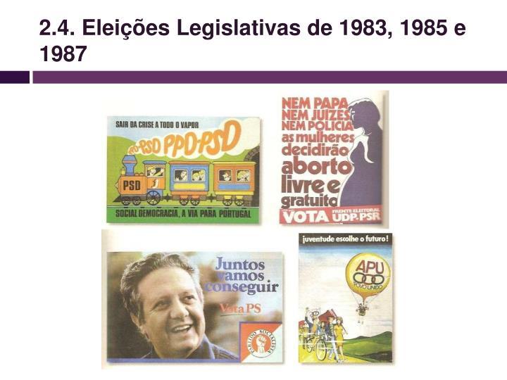 2.4. Eleições Legislativas de 1983, 1985 e 1987
