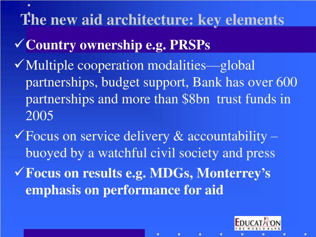The new aid architecture: key elements