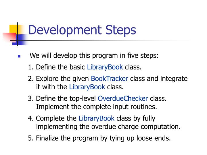 Development Steps