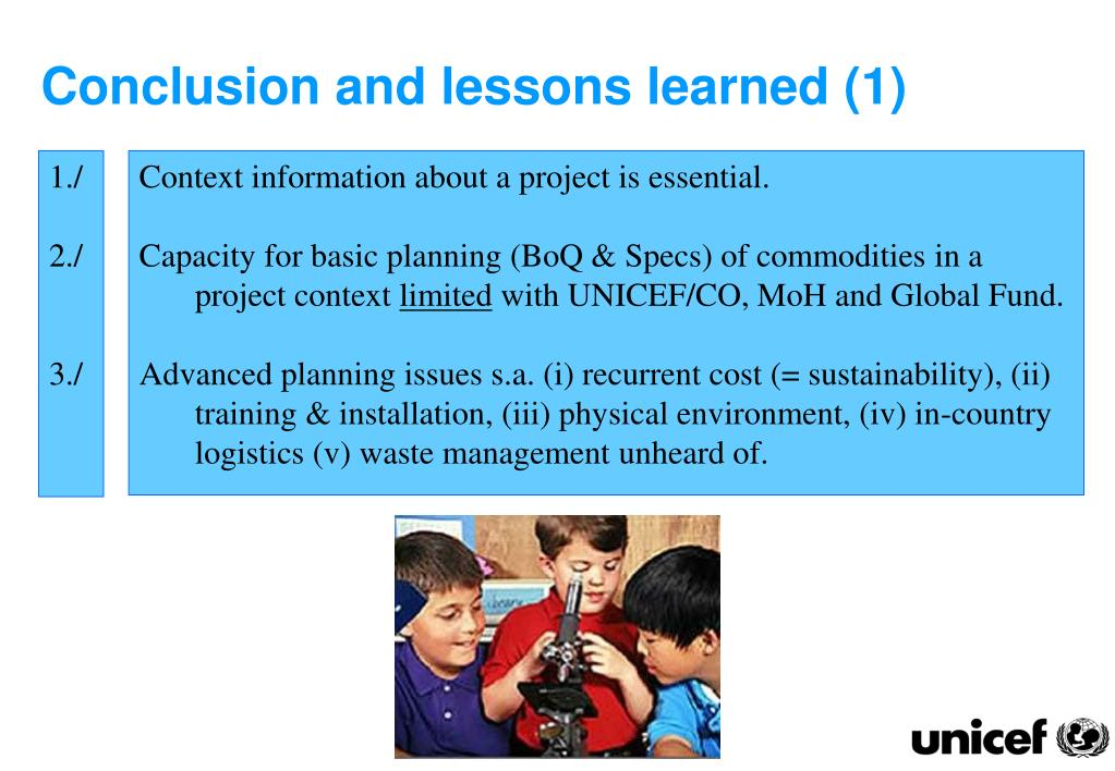 Conclusion and lessons learned (1)