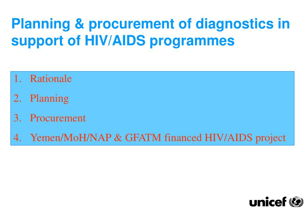 Planning & procurement of diagnostics in support of HIV/AIDS programmes