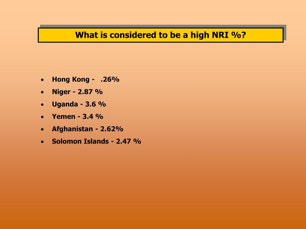 What is considered to be a high NRI %?