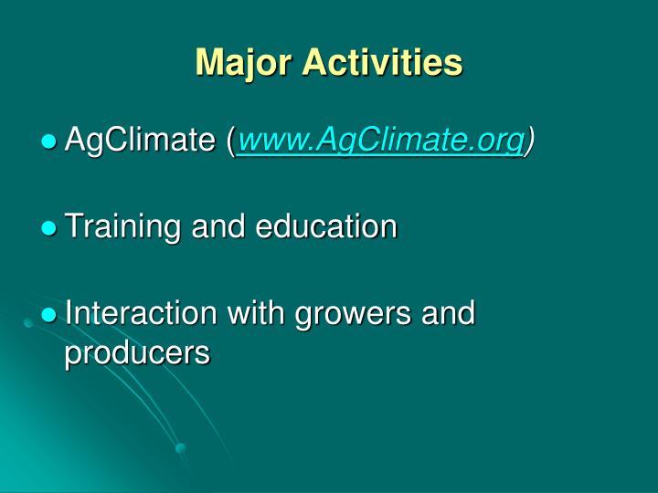 Major Activities
