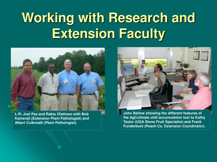 Working with Research and Extension Faculty