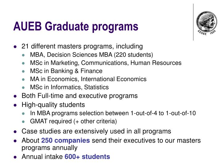 AUEB Graduate programs