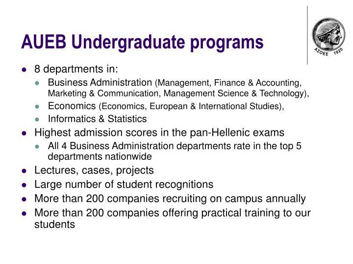 AUEB Undergraduate programs