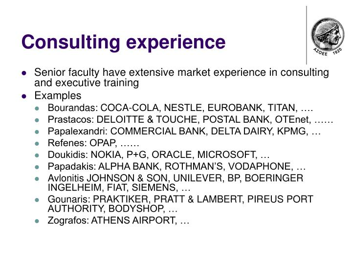 Consulting experience