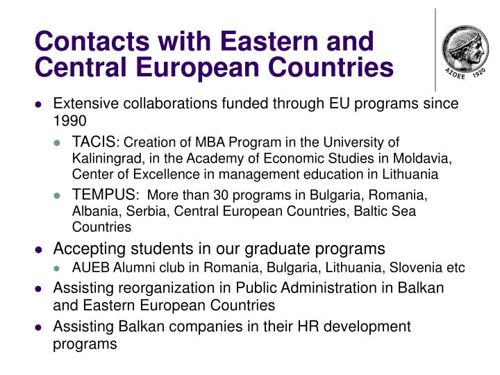Contacts with Eastern and Central European Countries