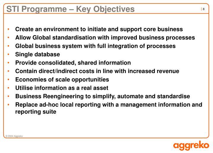 STI Programme – Key Objectives