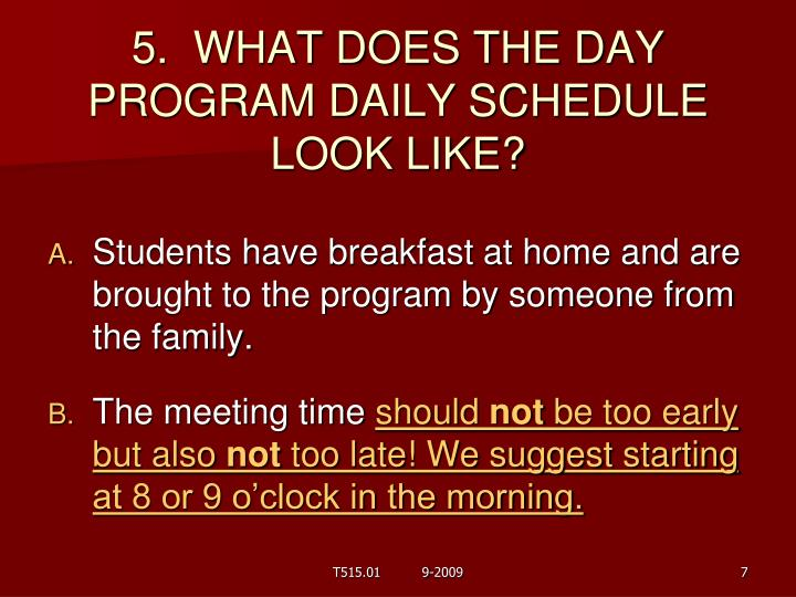 5.  WHAT DOES THE DAY PROGRAM DAILY SCHEDULE LOOK LIKE?