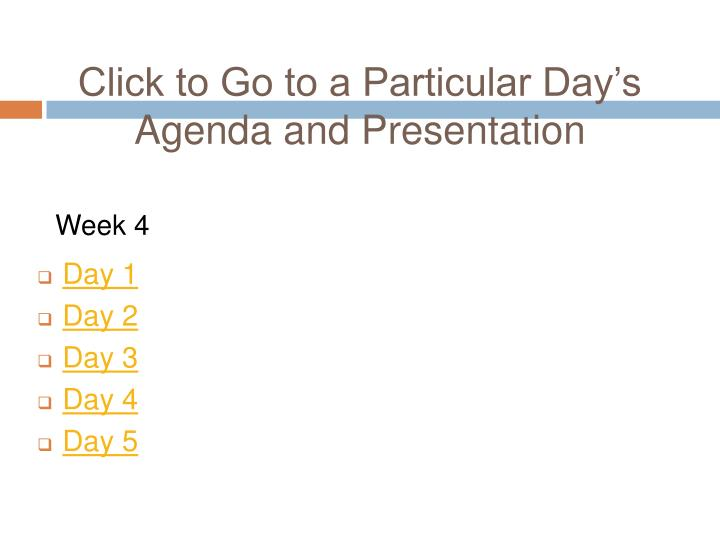 Click to Go to a Particular Day's Agenda and Presentation
