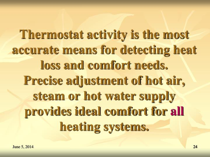 Thermostat activity is the most accurate means for detecting heat loss and comfort needs.