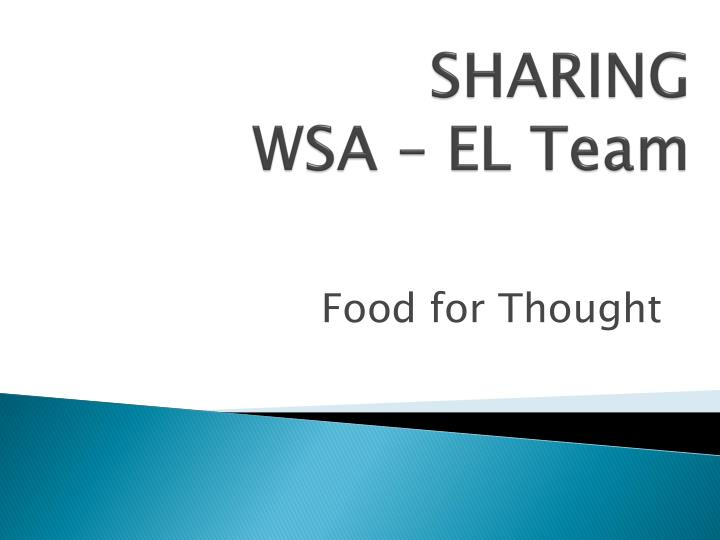Sharing wsa el team