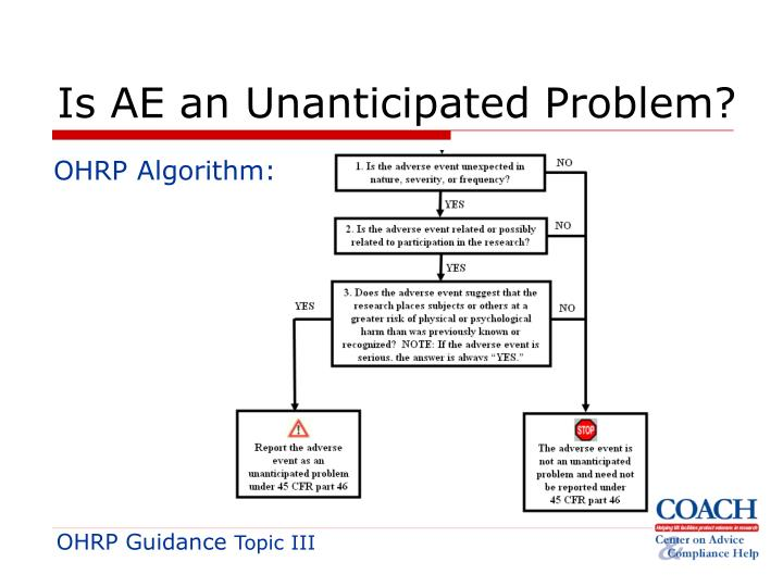 Is AE an Unanticipated Problem?