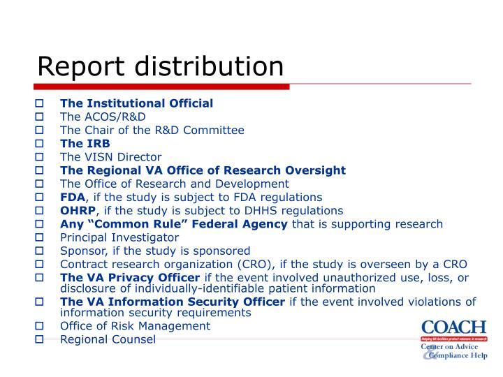 Report distribution