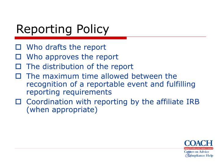 Reporting Policy