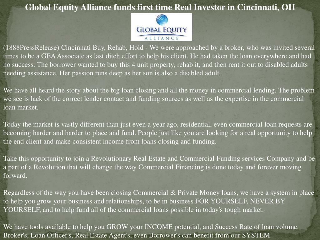Global Equity Alliance funds first time Real Investor in Cincinnati, OH