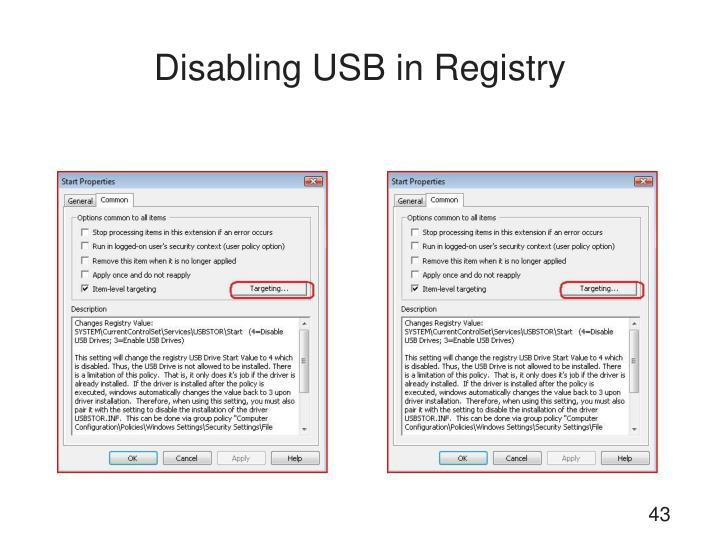 Disabling USB in Registry