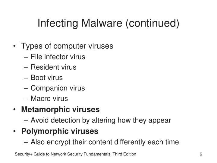 Infecting Malware (continued)
