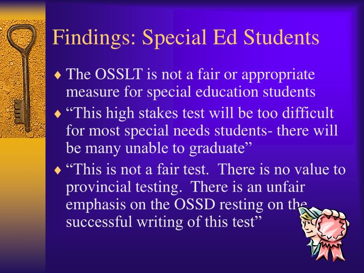 Findings: Special Ed Students
