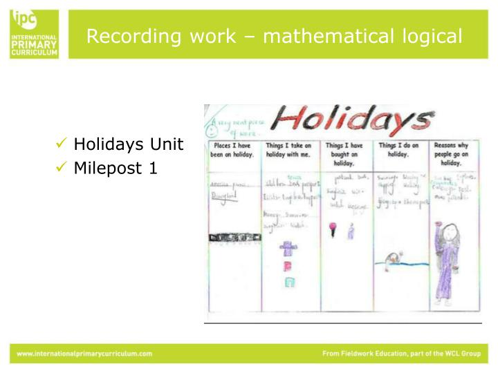 Recording work – mathematical logical
