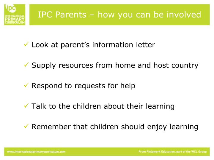 IPC Parents – how you can be involved