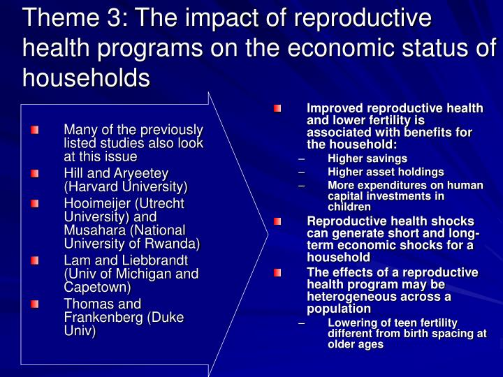 Theme 3: The impact of reproductive health programs on the economic status of households