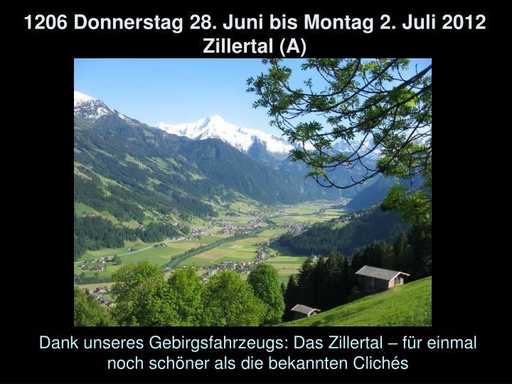 1206 Donnerstag 28. Juni bis Montag 2. Juli 2012 Zillertal (A)