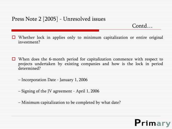 Press Note 2 [2005] - Unresolved issues