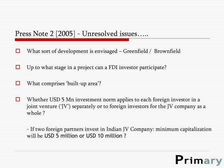 Press Note 2 [2005] - Unresolved issues…..
