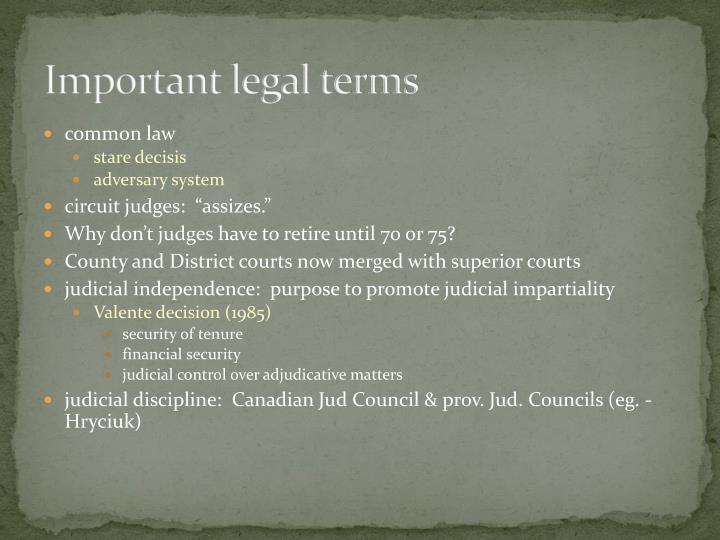 Important legal terms