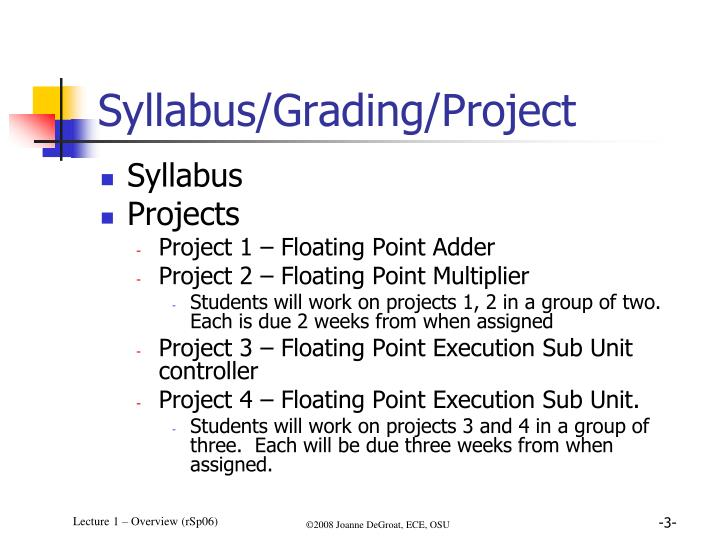 Syllabus/Grading/Project