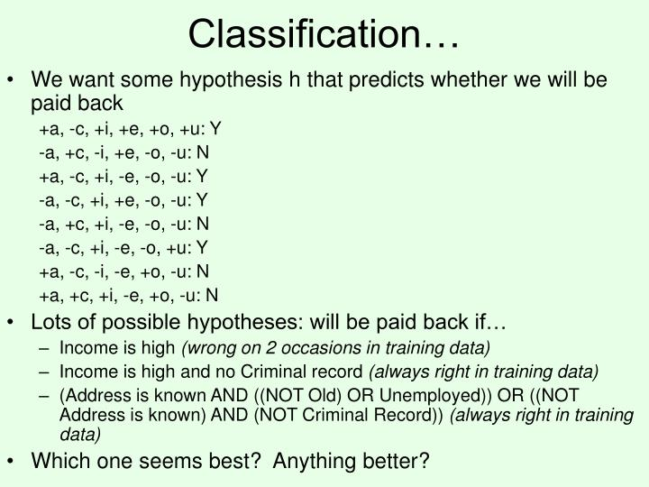 Classification…