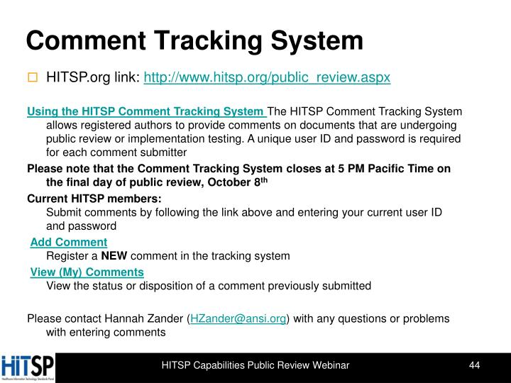 Comment Tracking System