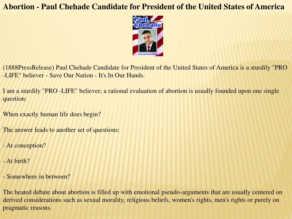Abortion - Paul Chehade Candidate for President of the United States of America