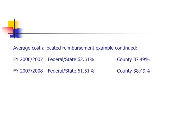 Average cost allocated reimbursement example continued: