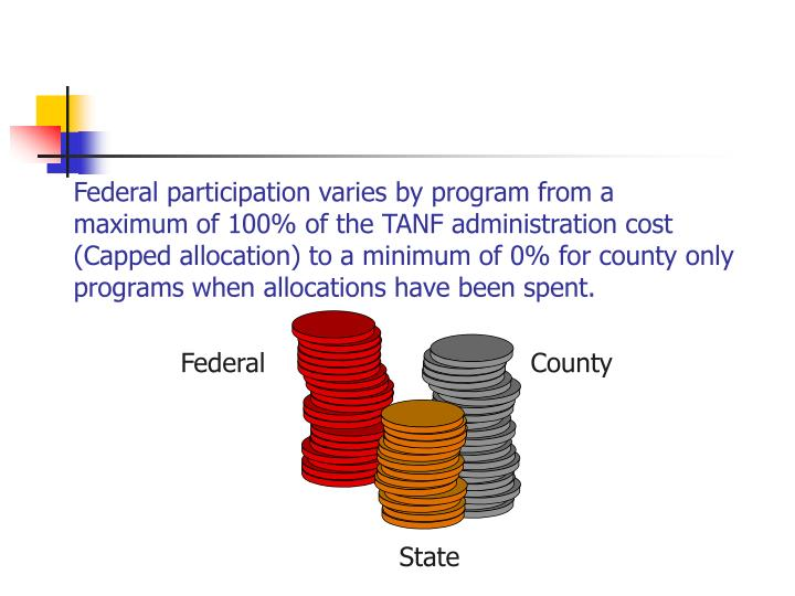 Federal participation varies by program from a maximum of 100% of the TANF administration cost (Capped allocation) to a minimum of 0% for county only programs when allocations have been spent.